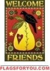 Pear & Crow Welcome Friends House Flag -1 left