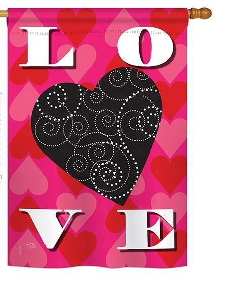 Love Heart House Flag