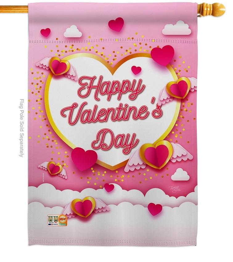 Flying Heart Valentine's House Flag