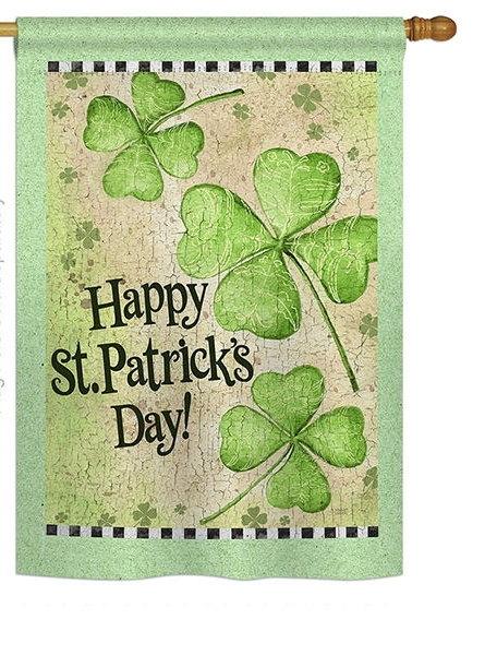 St. Patrick's Day Clover House Flag