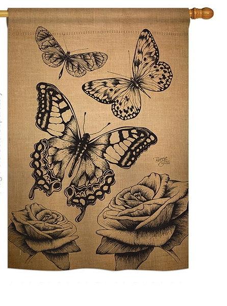 Butterflies Burlap House Flag