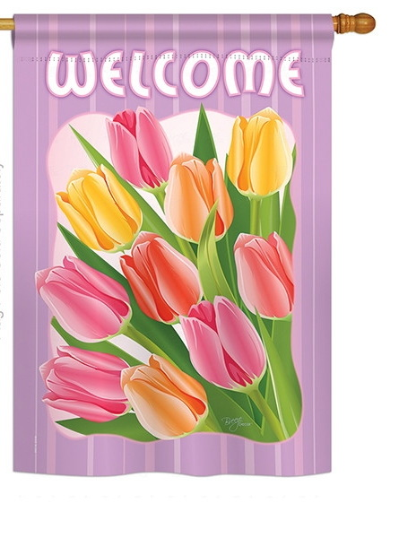 Welcome Tulips House Flag