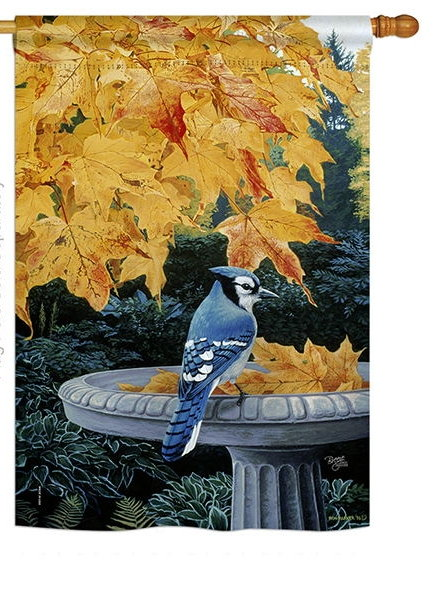 Autumn Birdbath House Flag