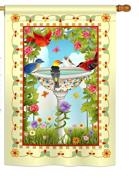 Bathing Birds Ivory House Flag