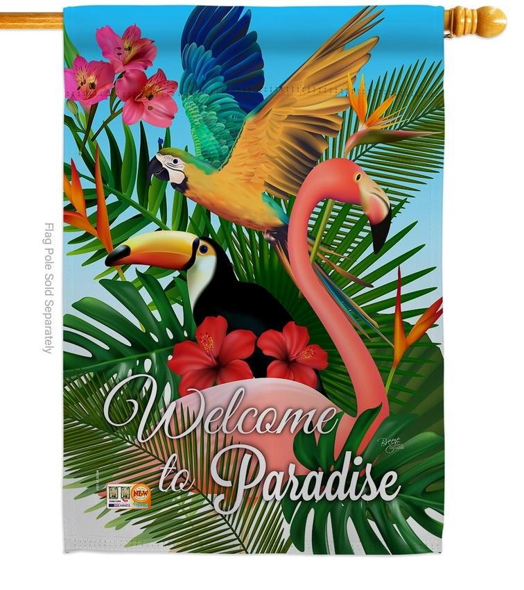 Tropical Bird Paradise House Flag