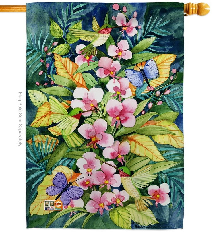 Orchids And Hummingbirds House Flag