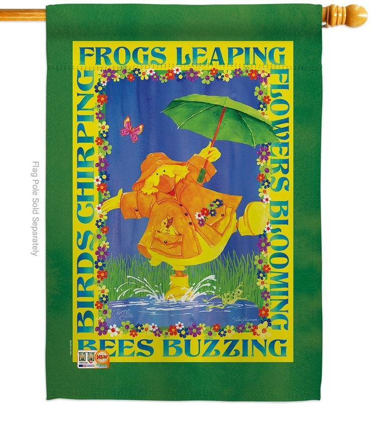 Spring Duckling House Flag
