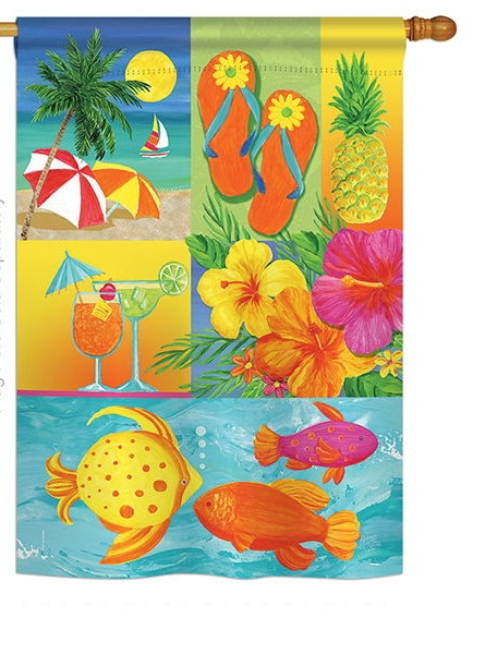 Tropical Collage House Flag