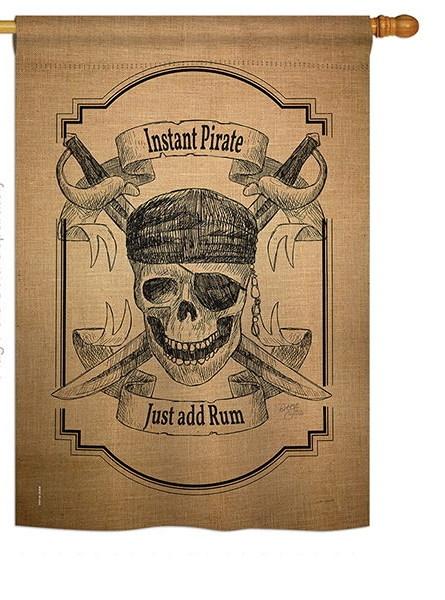Instant Pirate Burlap House Flag