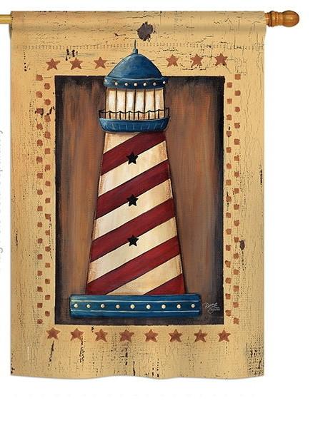 Patriotic Lighthouse House Flag