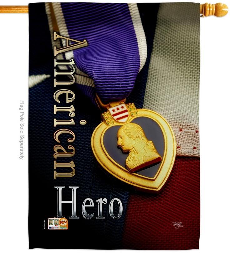 Purple Heart Hero House Flag