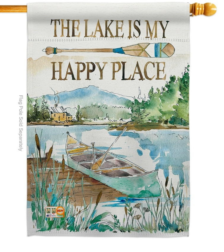 Lake Is Happy Place House Flag