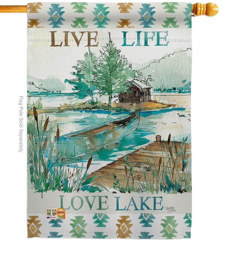 Live Life Lake House Flag
