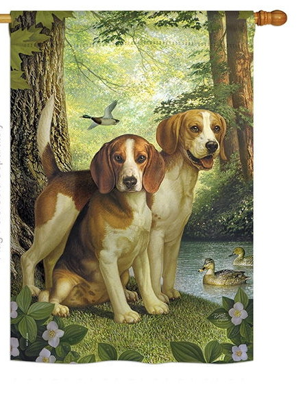Beagles And Duck House Flag