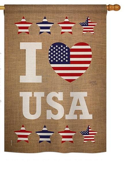 I Love USA House Flag