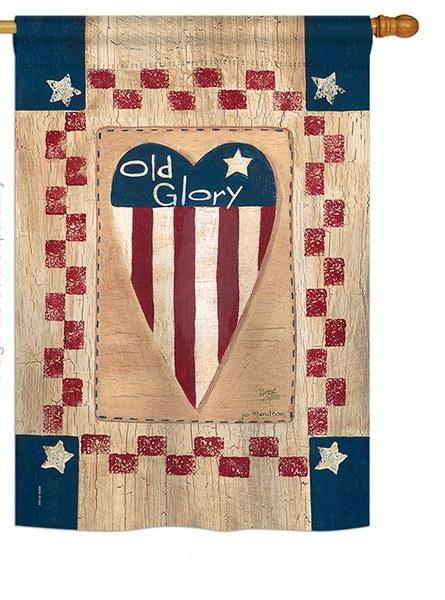 Old Glory Heart House Flag