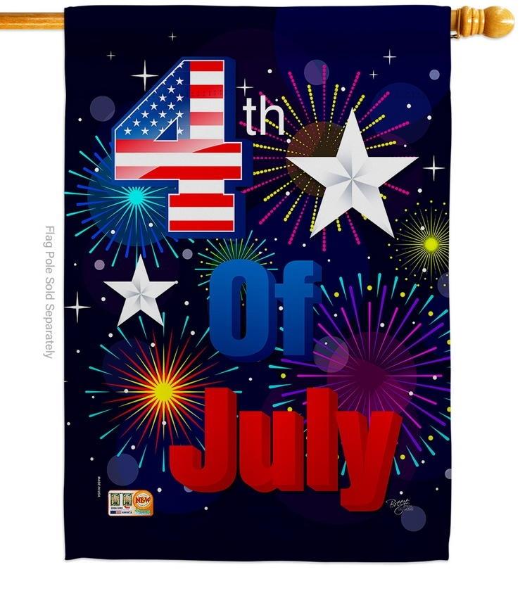 Fireworks July 4th Decorative House Flag