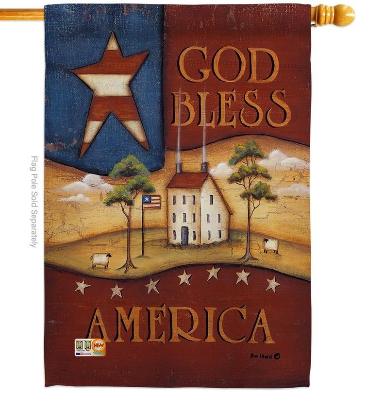 God Bless America Decorative House Flag