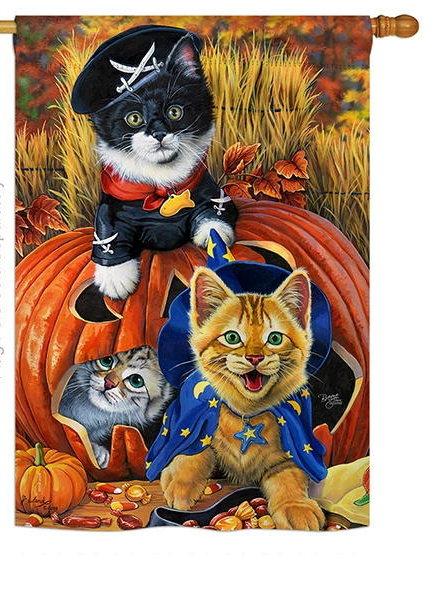 Halloween Kittens House Flag