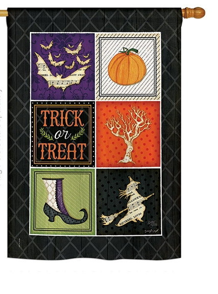 Trick or Treat Collage House Flag
