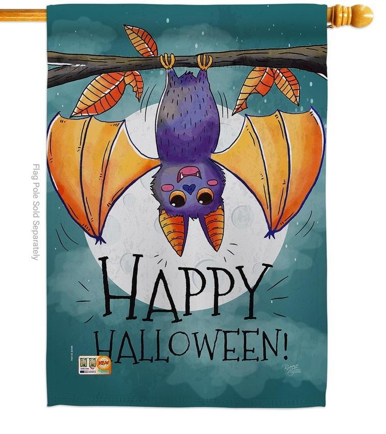 Happy Halloween Bat House Flag