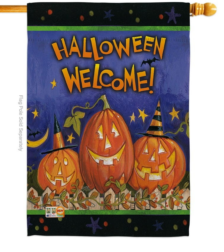 Halloween Welcome House Flag