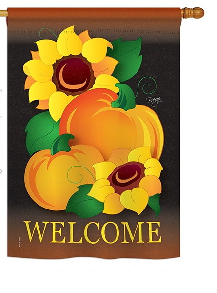 Welcome Pumpkin House Flag