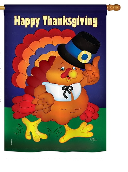 Happy Thanksgiving Turkey House Flag