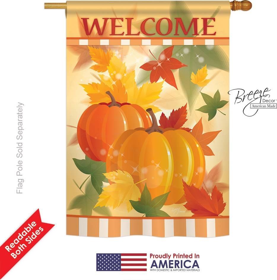 Welcome Fall Pumpkins House Flag