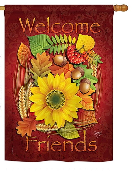 Welcome Friends Fall House Flag