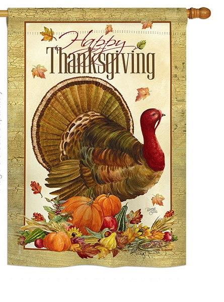 Thanksgiving Turkey House Flag