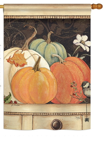 October Pumpkins House Flag