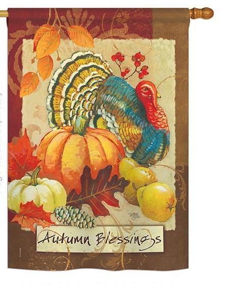 Autumn Blessings Turkey House Flag