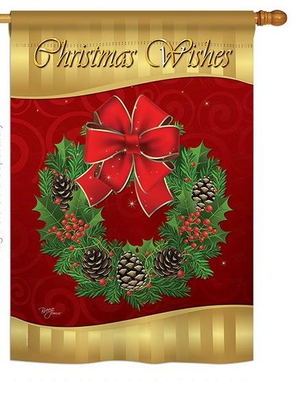 Christmas Wishes House Flag
