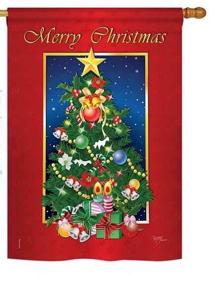 Merry Christmas Tree House Flag