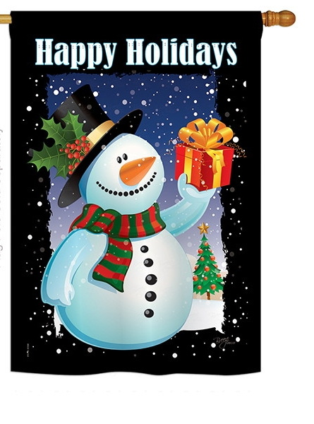 Holiday Snowman House Flag
