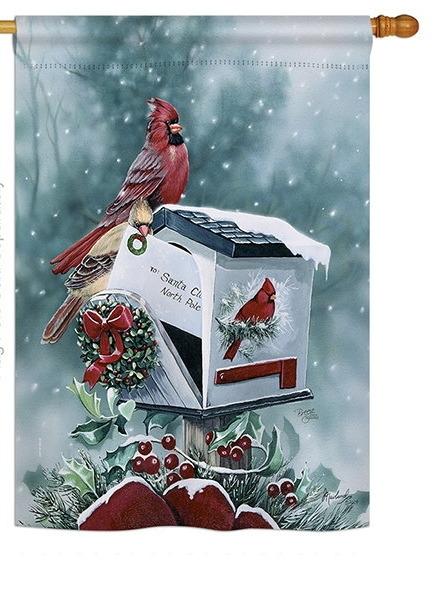 Christmas Cardinals House Flag