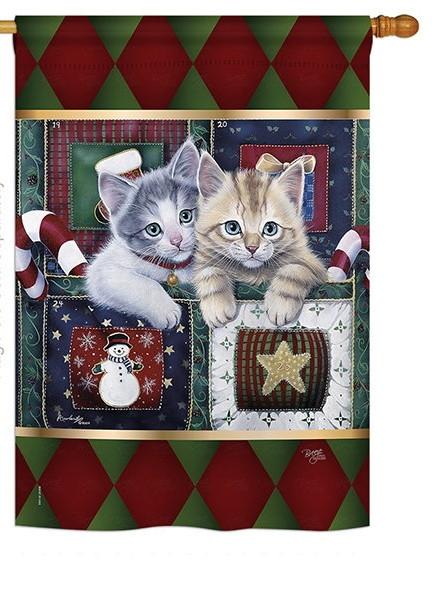 Christmas Calendar Kittens House Flag
