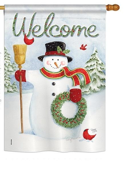 Snowman Wreath House Flag