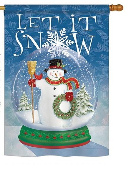 Snow Globe Snowman House Flag