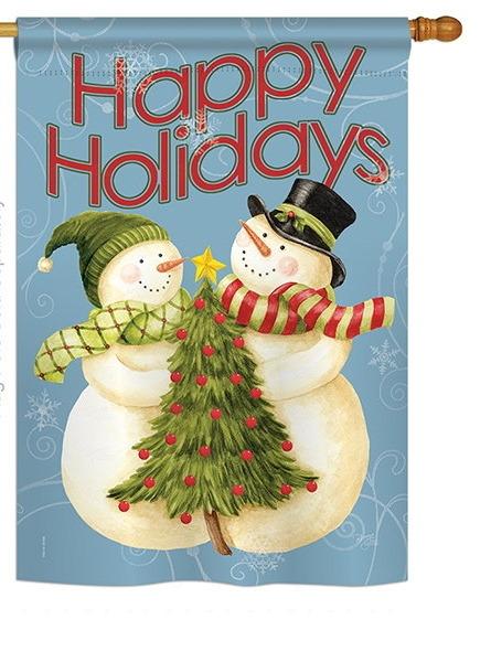 Happy Holidays Tree House Flag