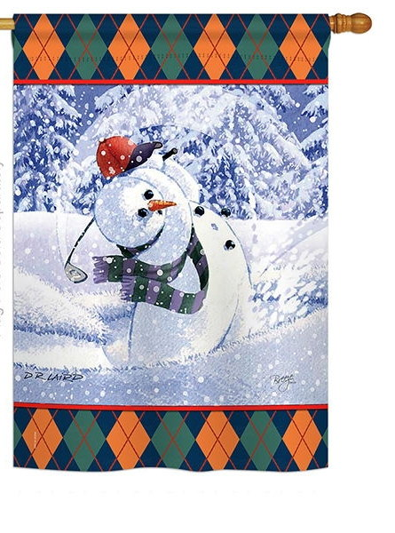 Snowman Golf House Flag