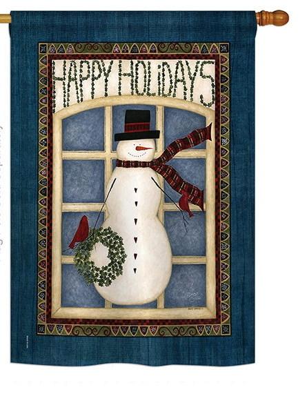 Happy Holidays Snowman House Flag