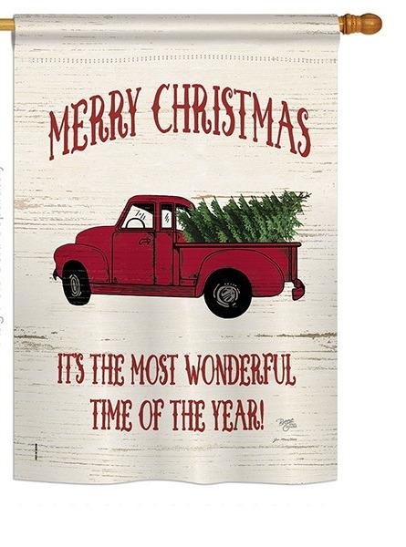 Merry Christmas Vintage Truck House Flag