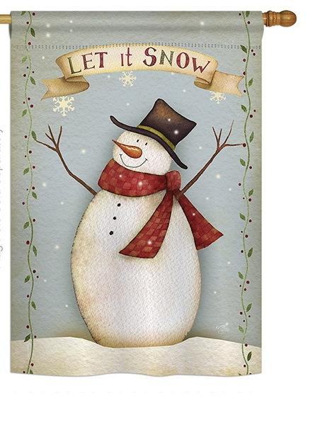 Let It Snow Happy Snowman House Flag