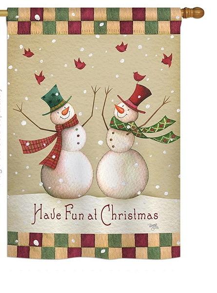 Have Fun at Christmas House Flag