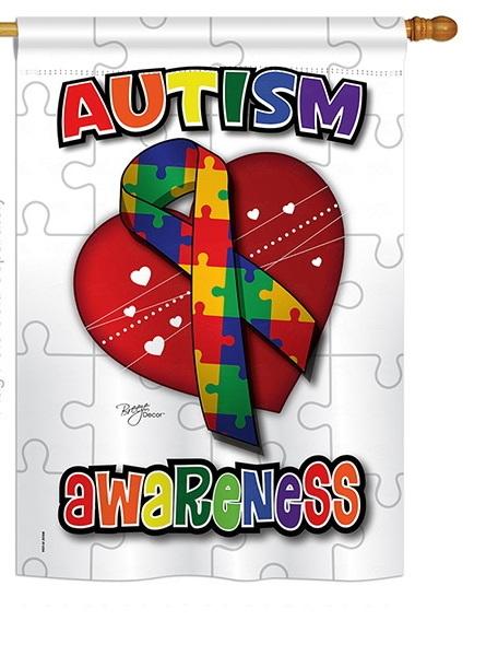 Autism Awareness House Flag