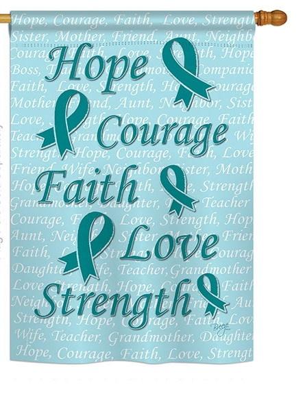 Hope, Faith, Courage (Teal) House Flag