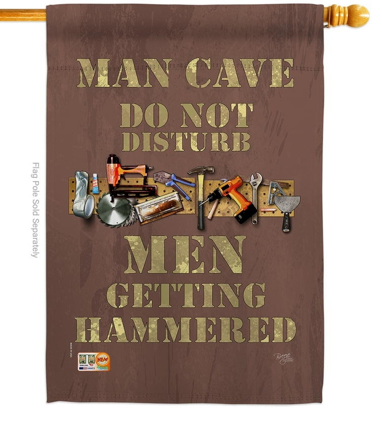 Man Cave Men Getting Hammered House Flag