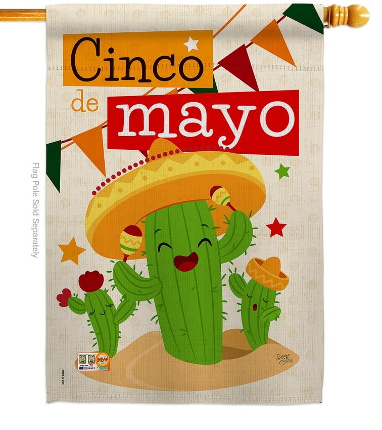 Cactus Fiesta Cinco de Mayo House Flag